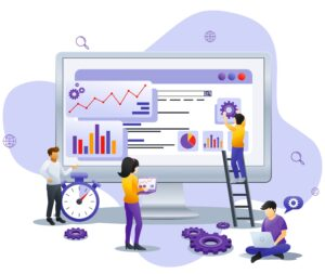 Modern Flat design concept of Business analysis with characters in business meeting viewing data and report. Can use for business analysis, banner, landing page, web template. Flat vector illustration